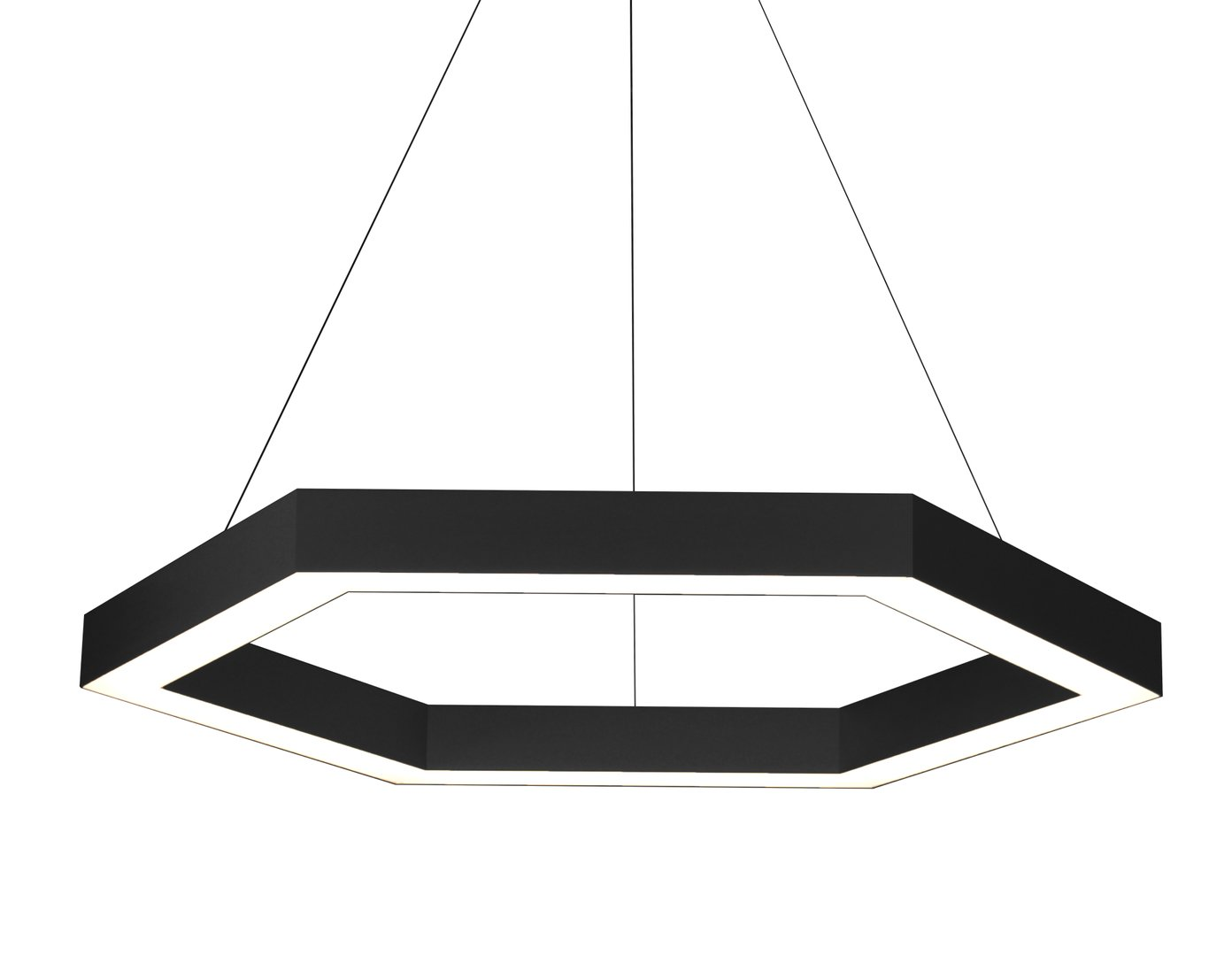 Statement hexagon LED pendant black