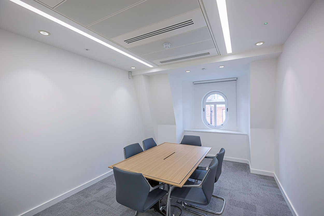 Recessed linear LED lighting boardroom