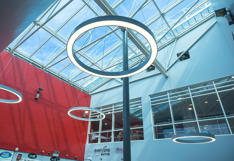 Harrow leisure centre LED ring pendant