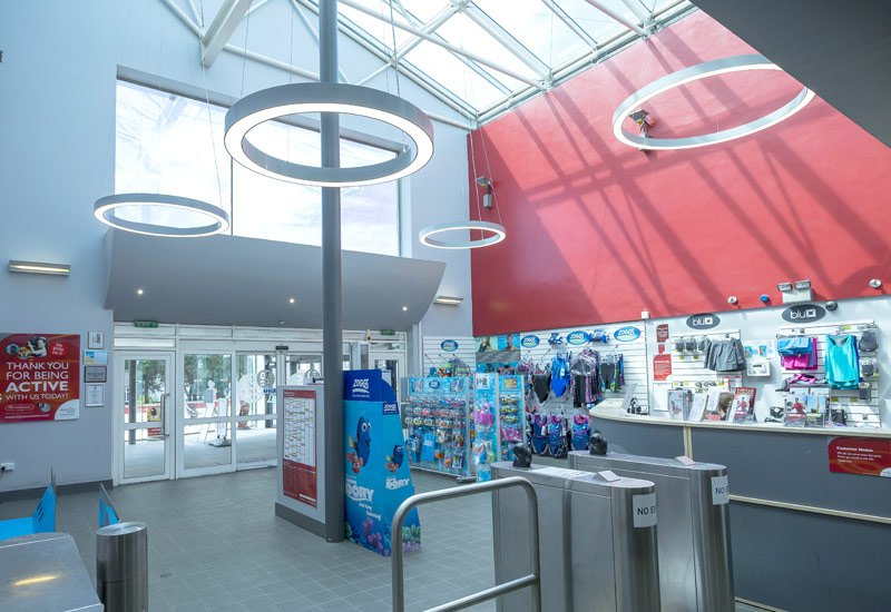 Harrow leisure centre entrance LED ring pendants
