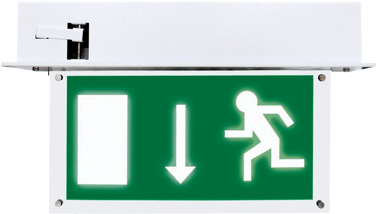 Emergency recessed exit sign illuminated