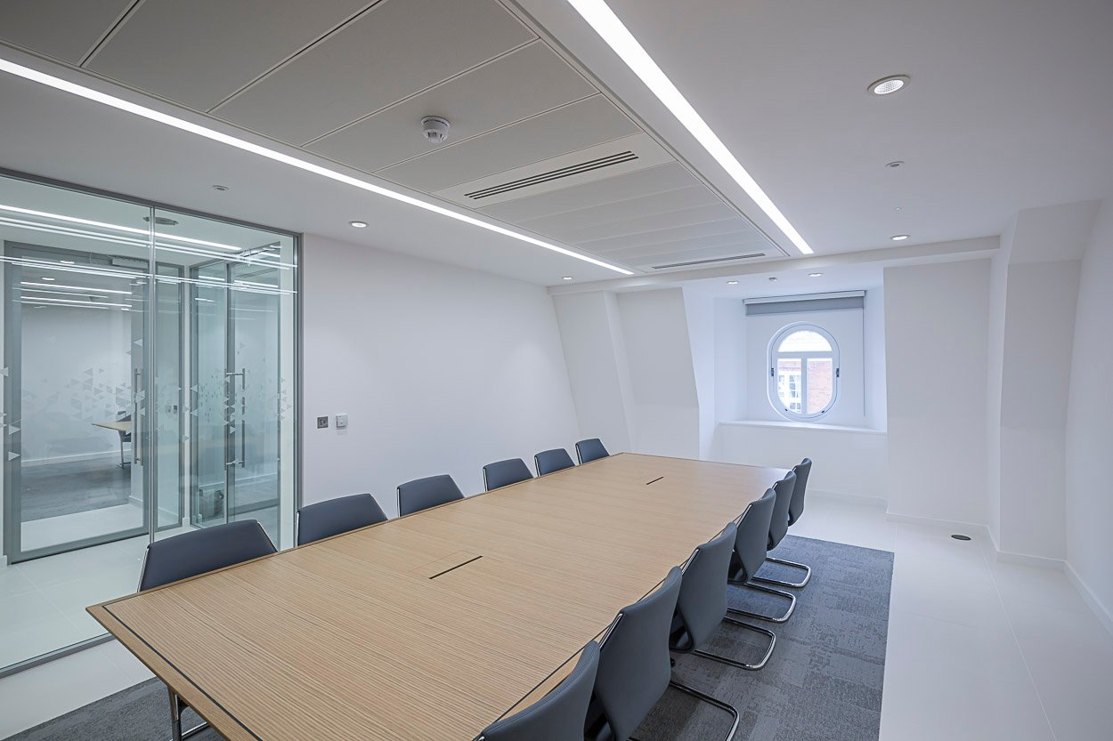 Recessed linear LED boardroom
