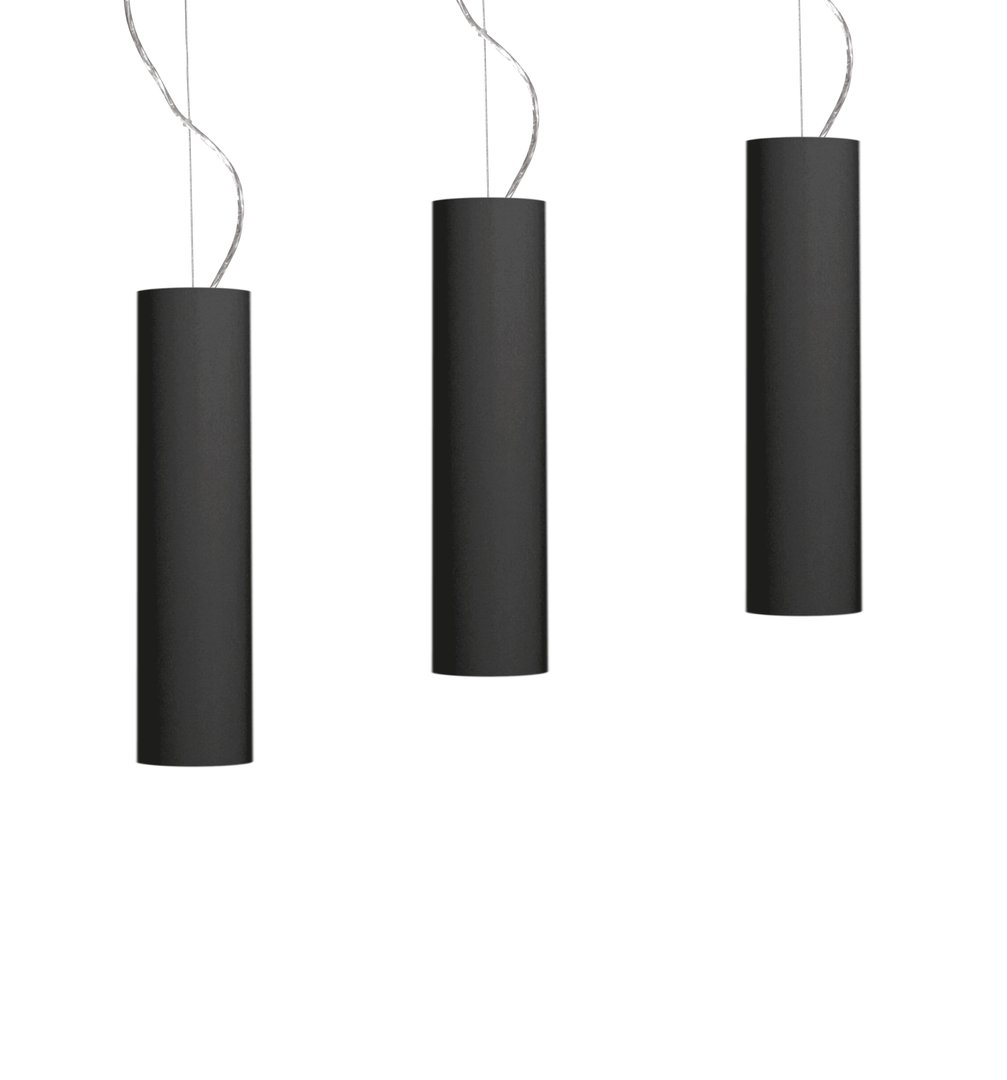 Thin round trendy LED pendant black